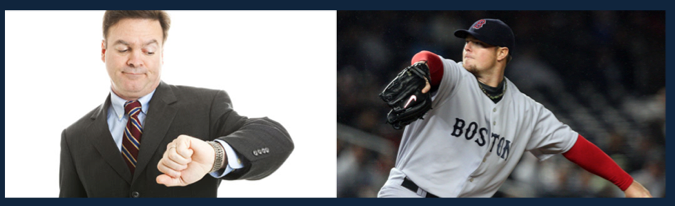 Pitchers should check their watch after separating their hands