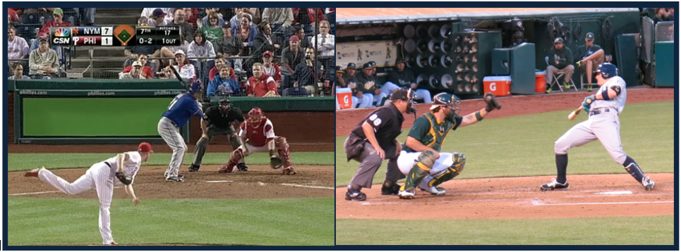 Left: Waste pitch not even close to the zone. Right:  A pitch thrown with a purpose.